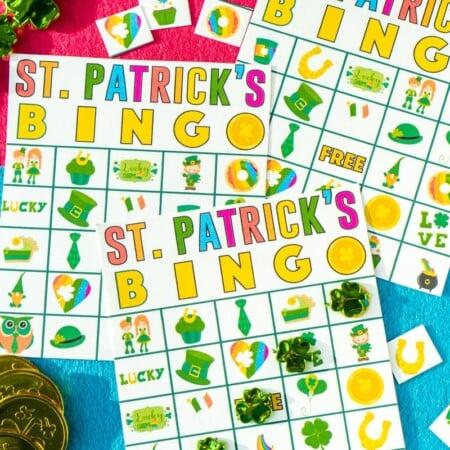A winning bingo shown on St. Patrick's Day bingo cards