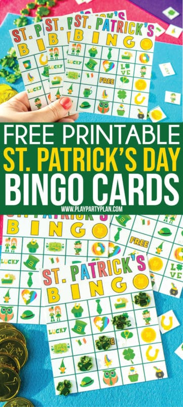 Printable St. Patrick's Day bingo cards that are fun for kids or adults! One of the best party games or activities for players of all ages!