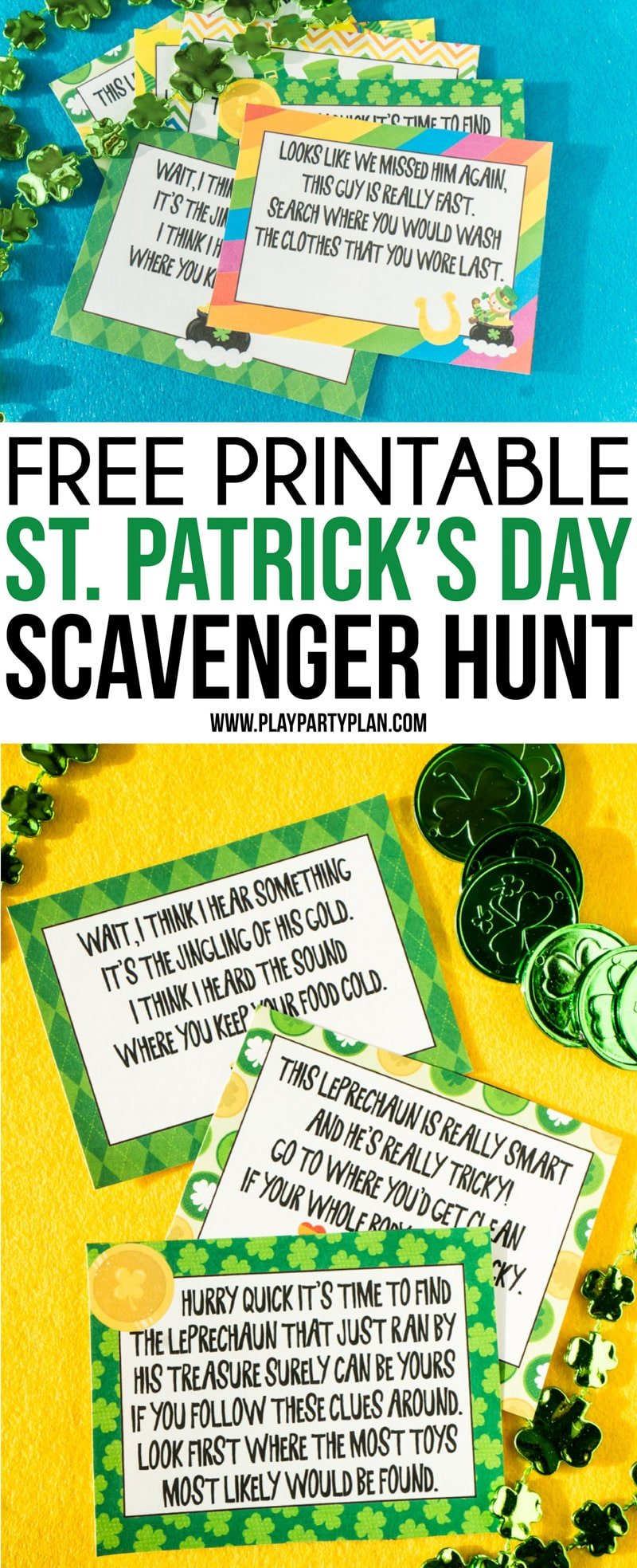 This St. Patrick's Day scavenger hunt is one of the best party activities for kids! Simply print out the printable clues, hide around the house, and leave with favors at the end for magical fun!