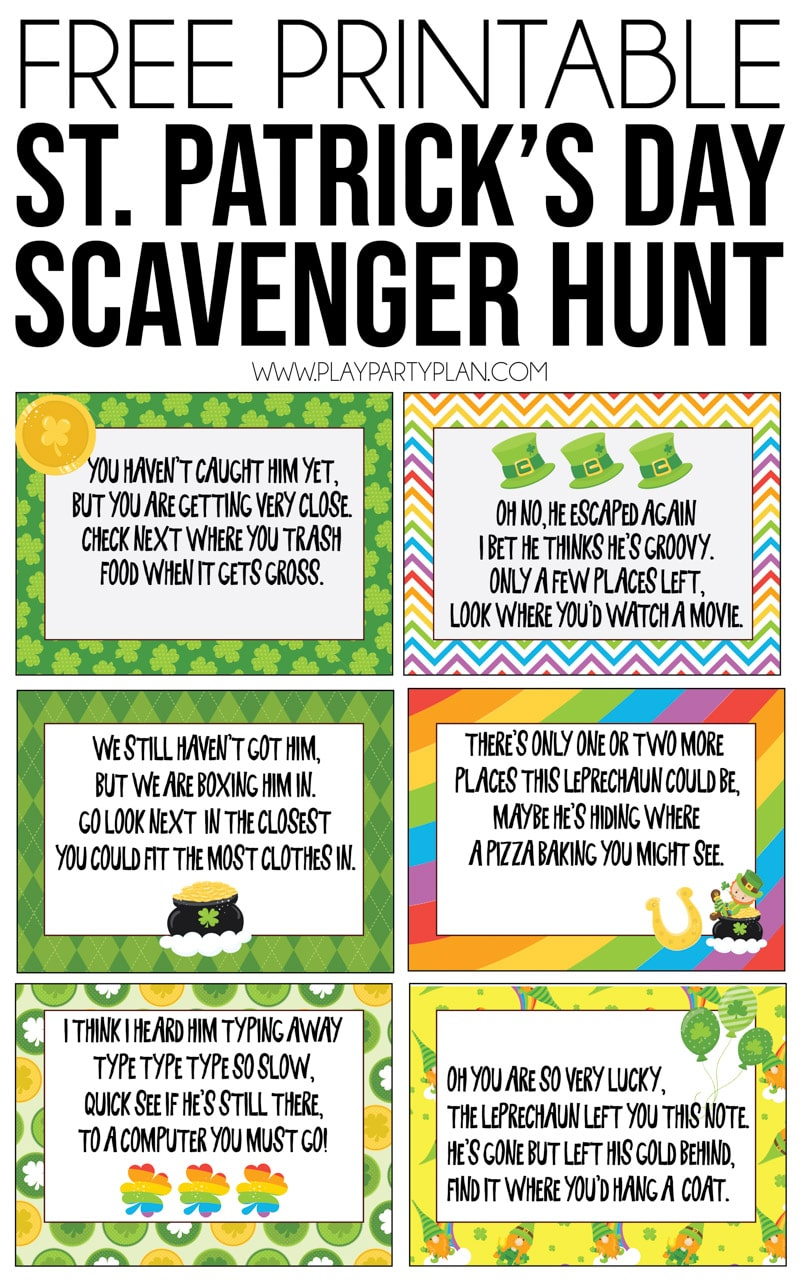 This St. Patrick's Day scavenger hunt is one of the best party activities for kids! Simply print out the printable clues, hide around the house, and leave with favors at the end for magical fun! via @playpartyplan
