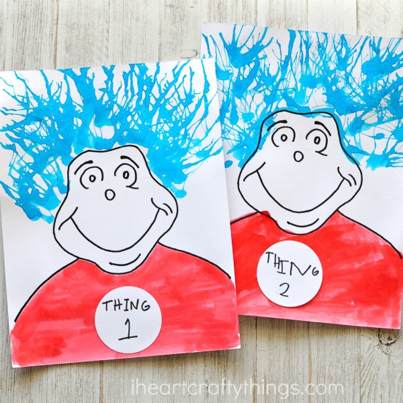 Thing 1 and Thing 2 paintings for Dr. Seuss Day activities