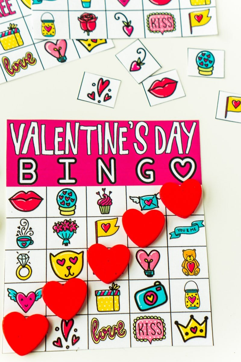 Valentine's Day bingo card with heart shaped markers