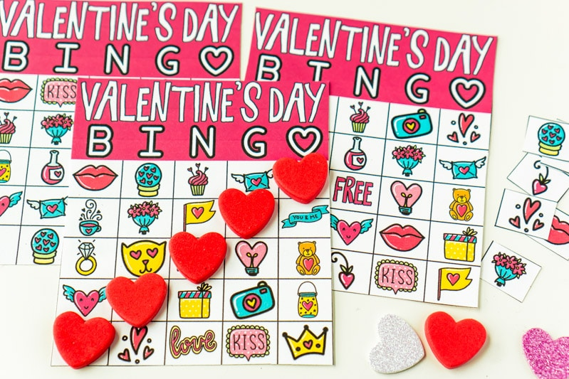 Valentine Bingo cards with markers on top