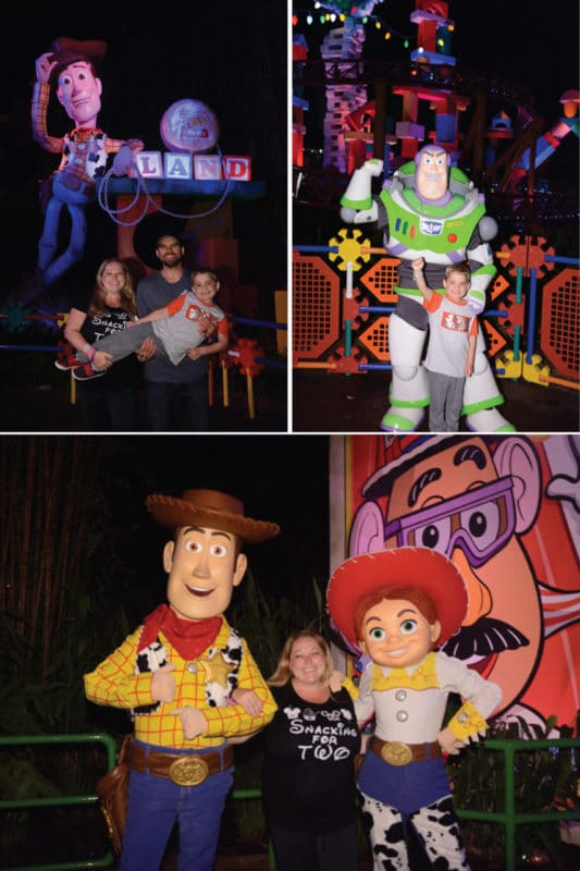 Character greetings in Toy Story Land during Disney After Hours