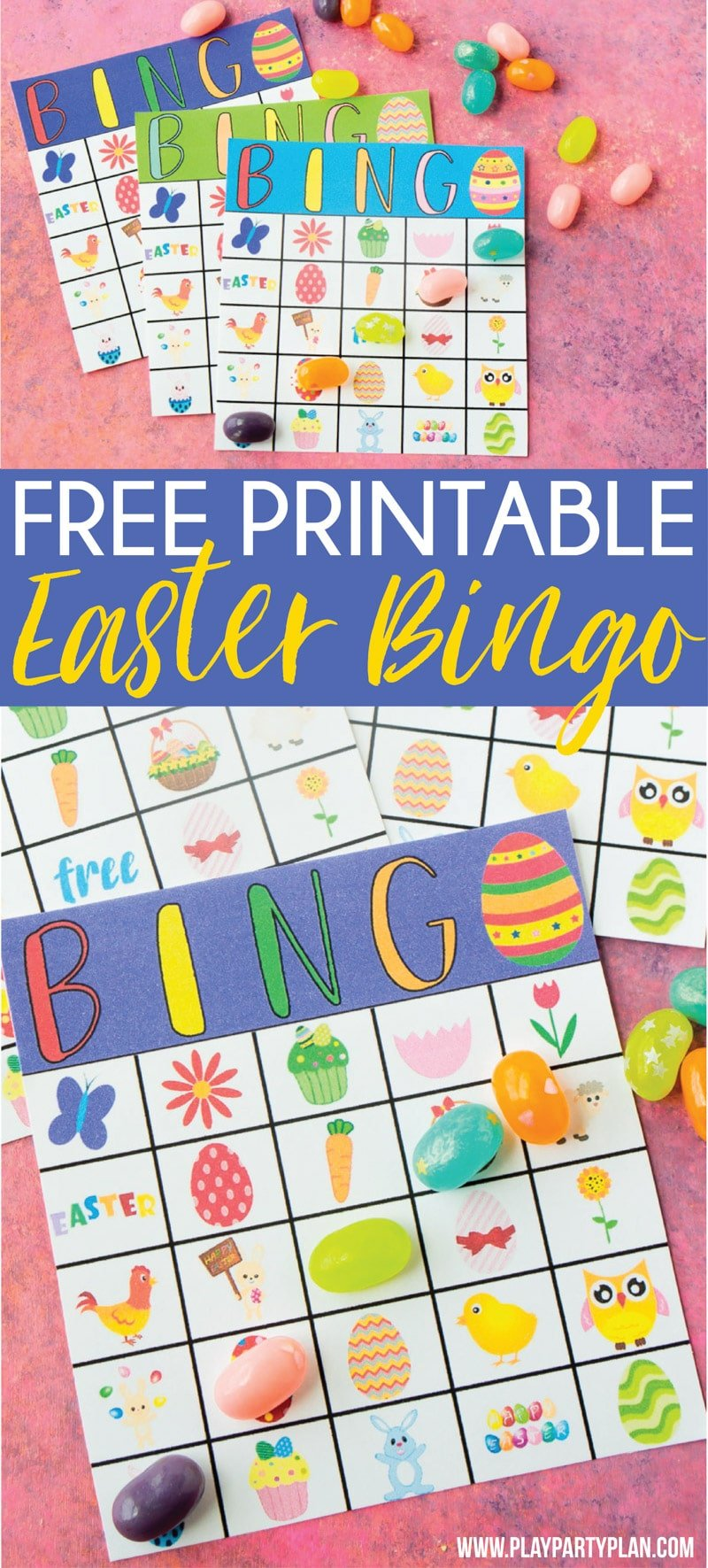 Free printable Easter bingo game that works great for preschool all the way up to cards for adults! Includes 40 unique cards and tons of fun prizes for kids or adults! via @playpartyplan