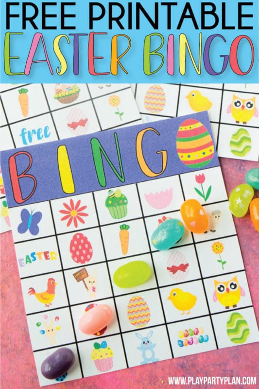 Free printable Easter bingo game that works great for preschool all the way up to cards for adults! Includes 40 unique cards and tons of fun prizes for kids or adults!
