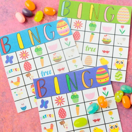 Three Easter bingo cards with jelly beans