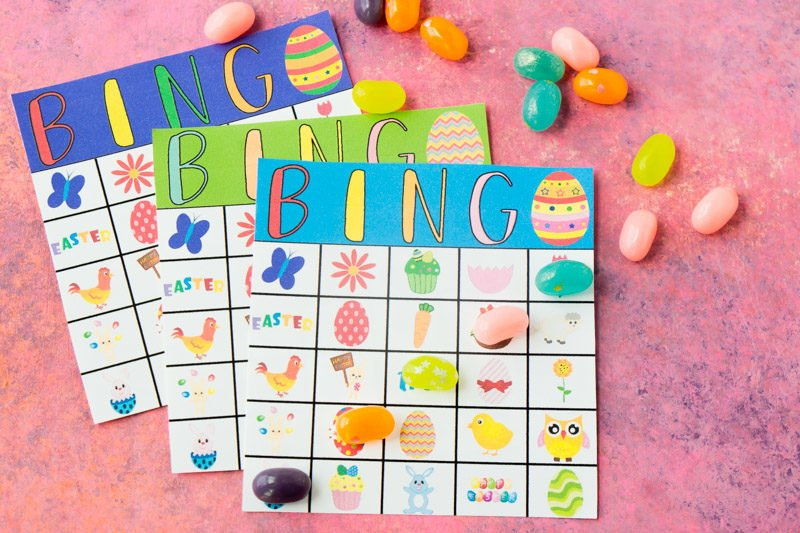 Three Easter bingo cards and jelly beans