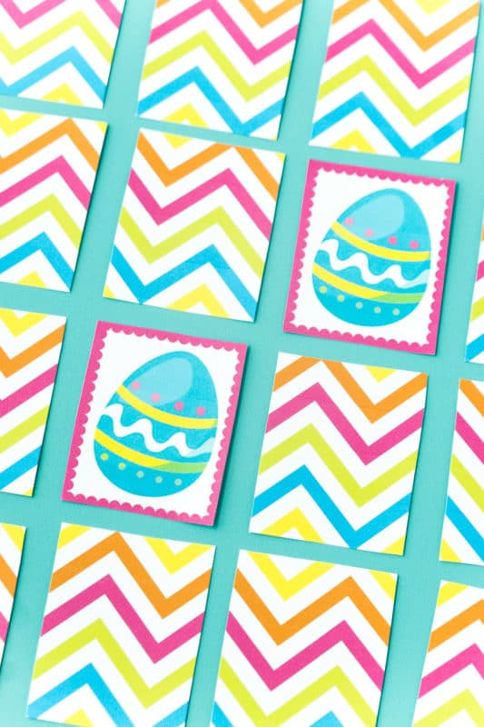 Easter memory game cards lined up with a match