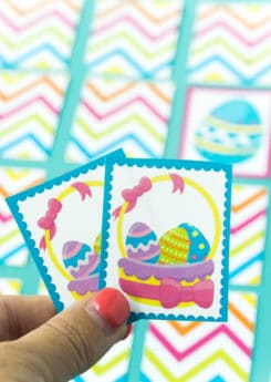 A match being held above an Easter memory game