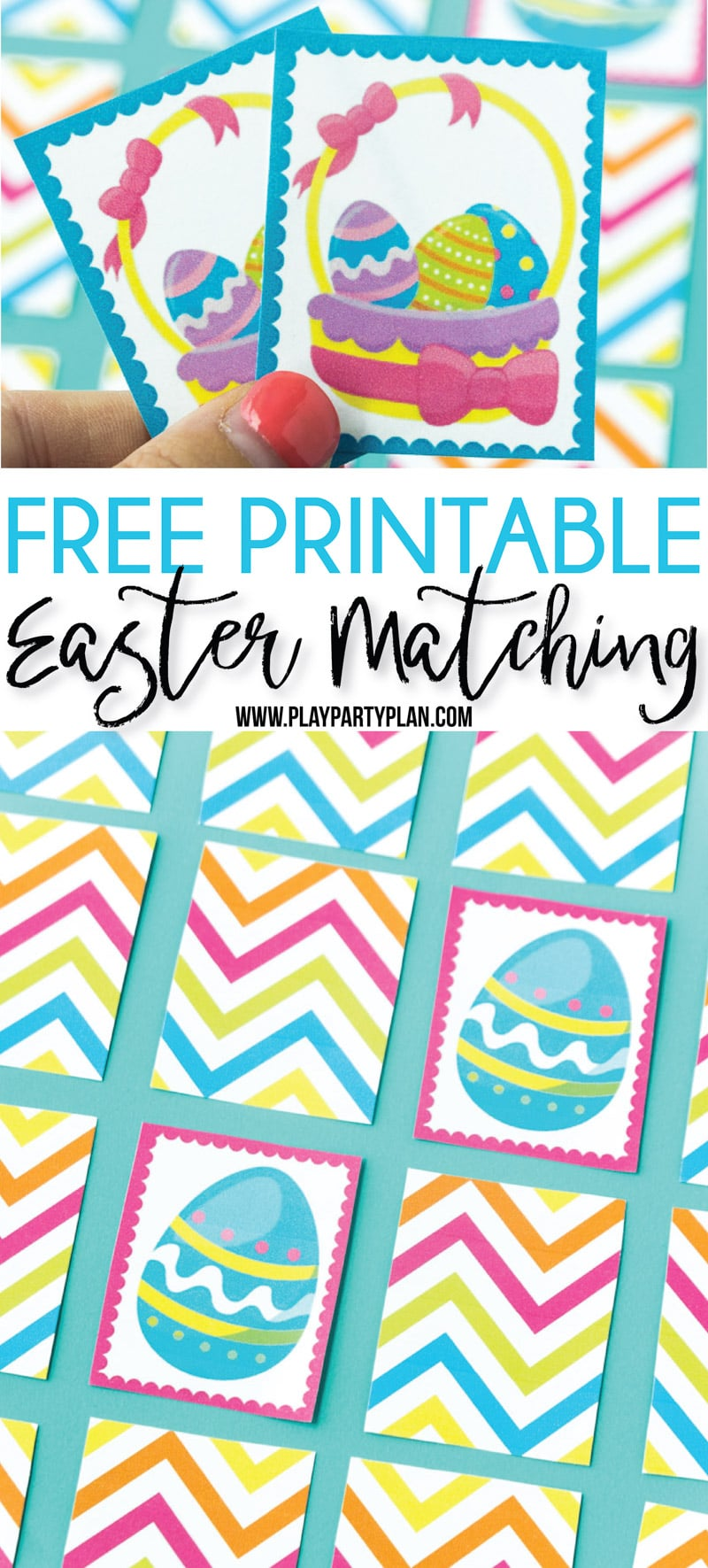 This free printable Easter memory game is one of the cutest Easter games for kids! Perfect for kindergarten, for preschoolers, or add a timer to make it for all ages! Simply print and play! #Easter #Eastergames #gamesforkids via @playpartyplan