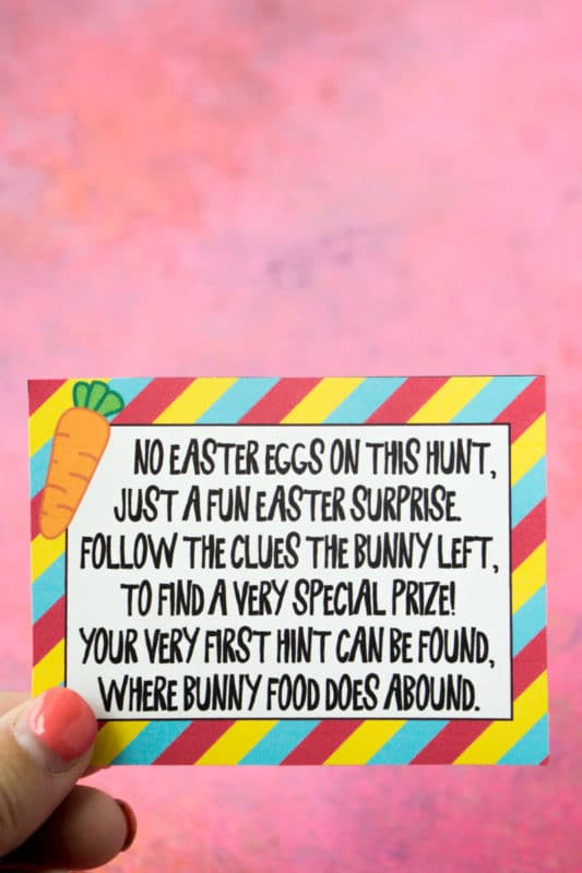 The first of many Easter scavenger hunt riddles