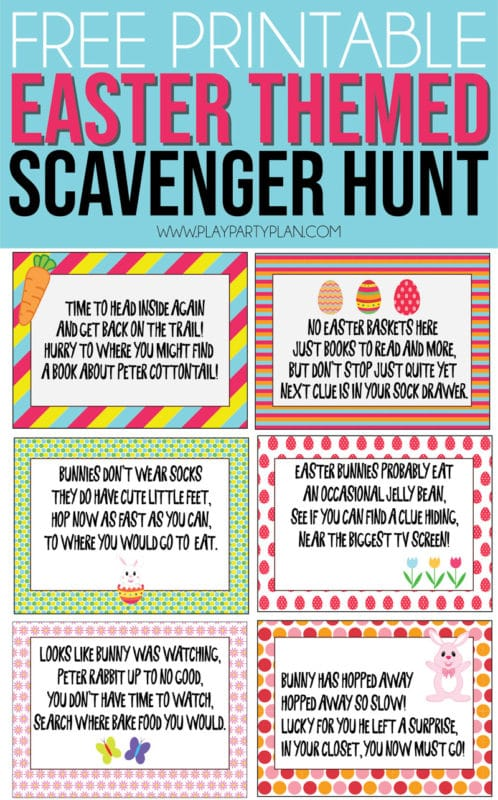 image about Clue Cards Printable called Free of charge Printable Easter Scavenger Hunt Clues - Perform Celebration Application