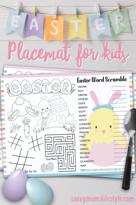 Easter placemats with a bunch of Easter activities for kids
