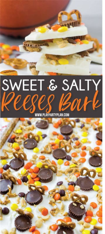 This Reese's chocolate basketball bark uses both Reese's peanut butter cups and Reese's Pieces in one of the yummiest dessert recipes ever! And best of all - it's homemade and a delicious way to use your favorite candy!