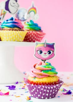 Cake stand with Rainbow butterfly unicorn kitty cupcakes