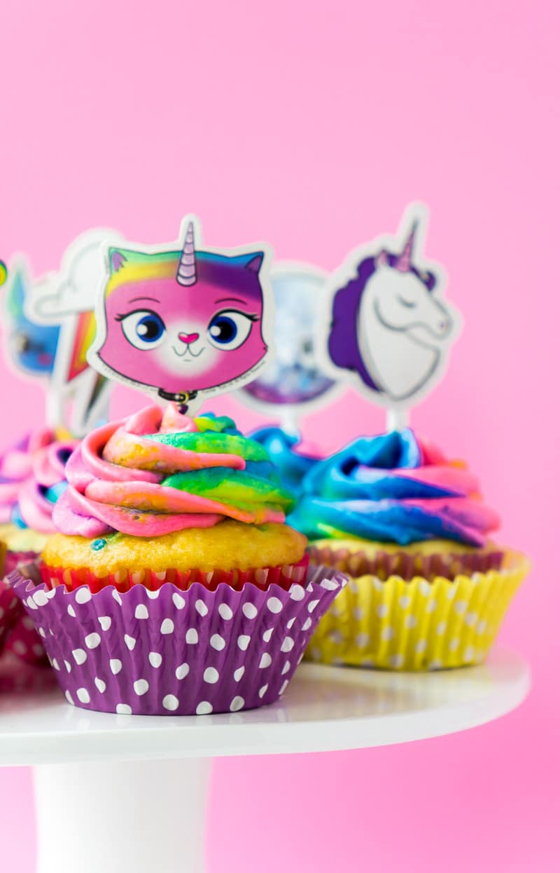 Rainbow butterfly unicorn kitty cupcakes and cake toppers