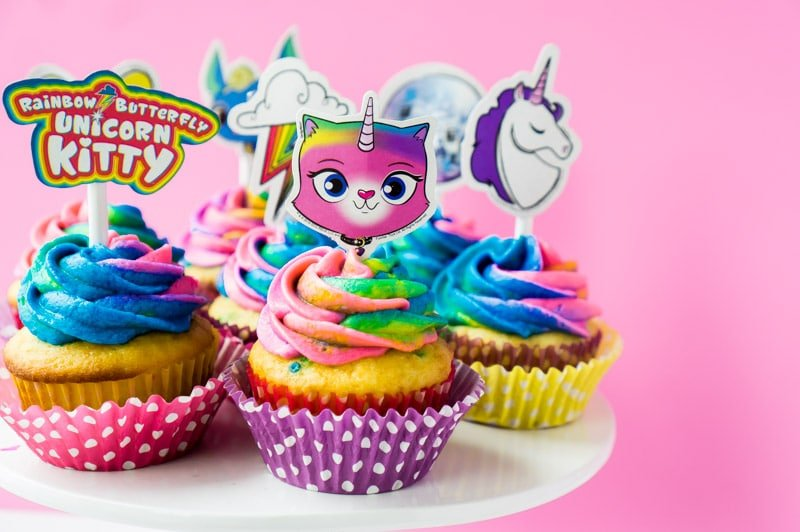 Rainbow butterfly unicorn kitty cupcakes