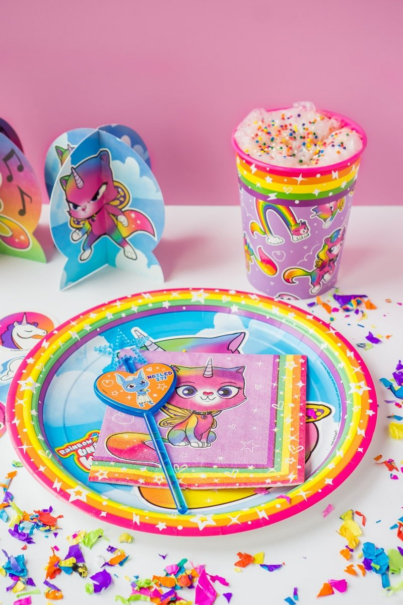 A rainbow butterfly unicorn kitty place setting