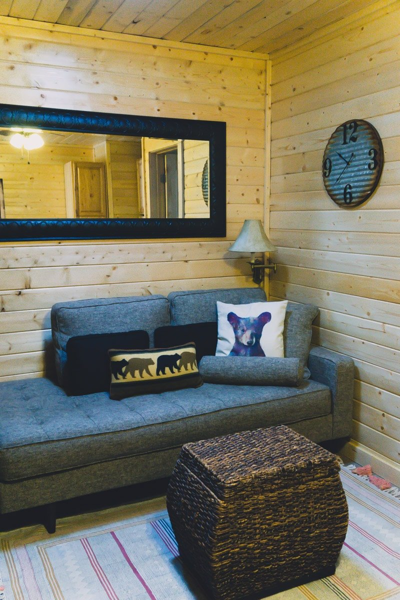 Cozy interior of Elk Run Ruidoso cabins