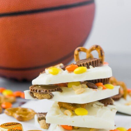 White chocolate Reese's bark stacked with a basketball