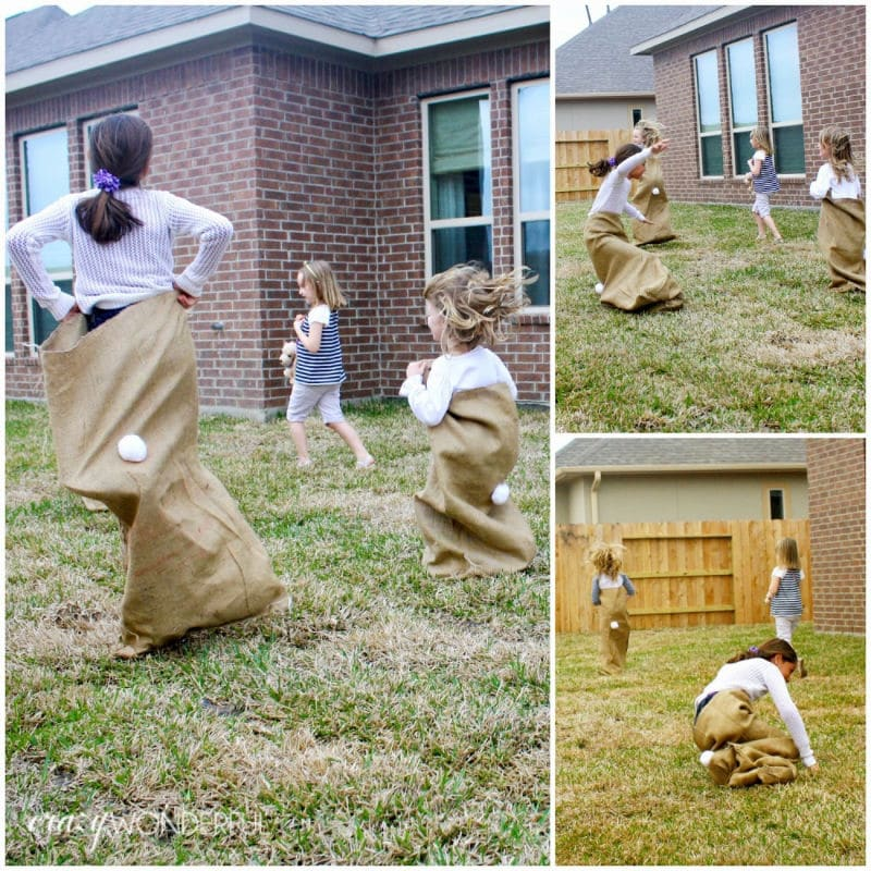 Kids doing a bunny sack race and other Easter activities