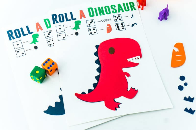Roll the dinosaur game on a table