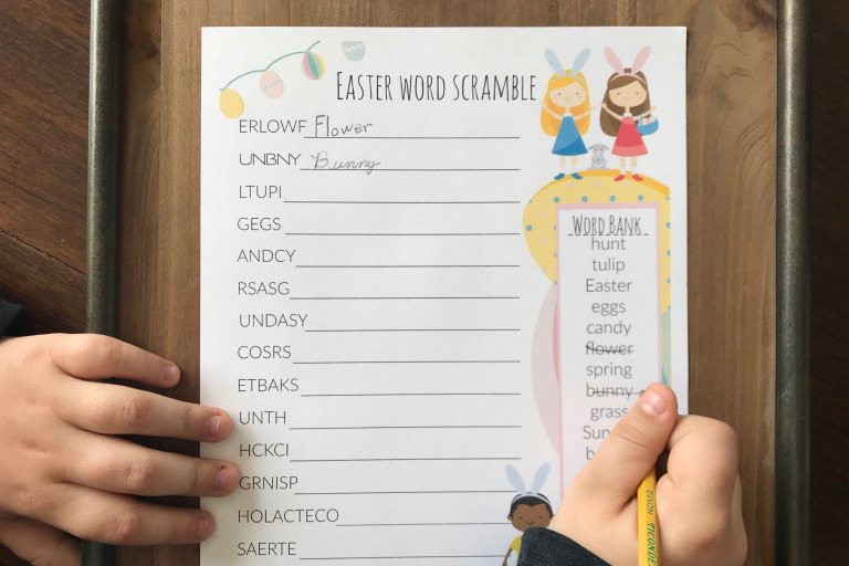 An Easter word scramble and other Easter activities