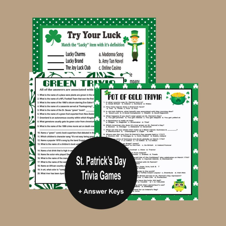 St Patrick's Day activities like trivia games