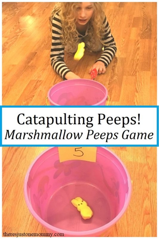 Kid playing catapulting peeps - one of the best Easter activities