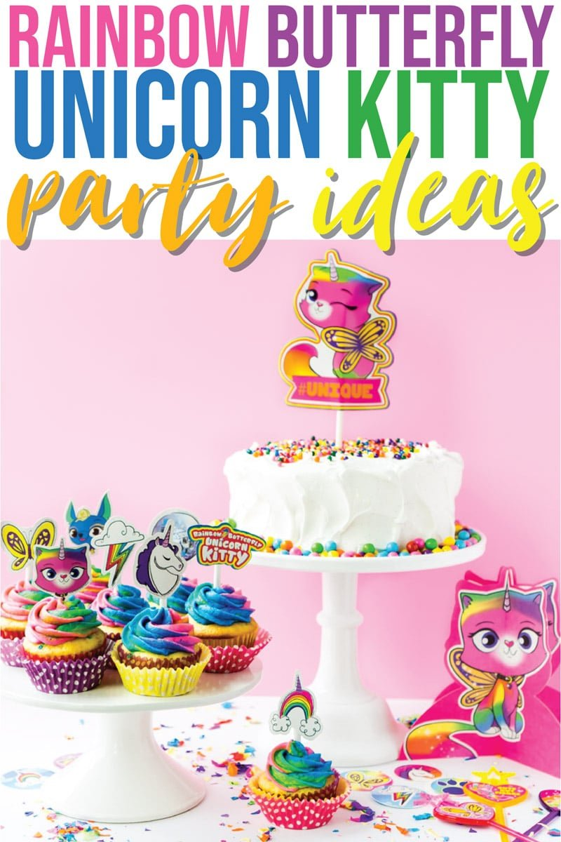 The best rainbow butterfly unicorn kitty party ideas! Everything you need - food, decorations, favors, and more for one colorful celebration.