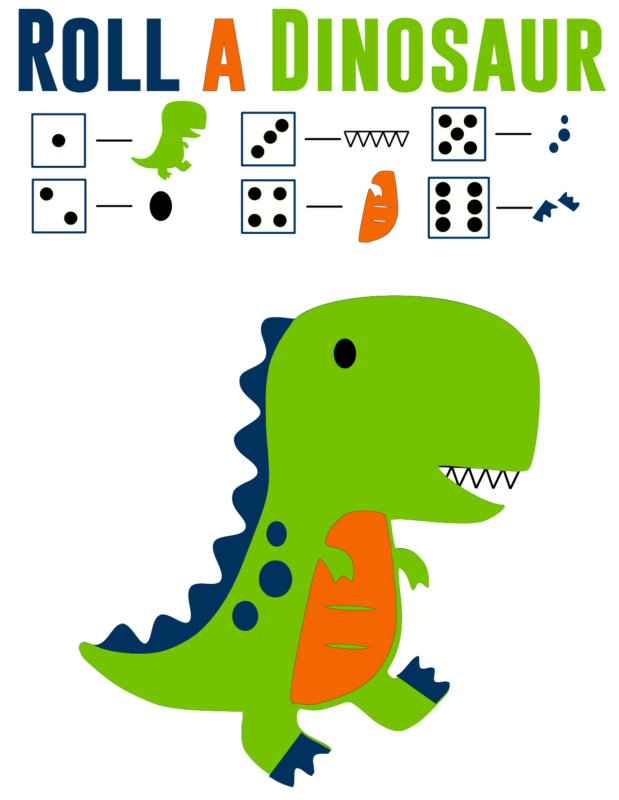 Roll the dinosaur printable game
