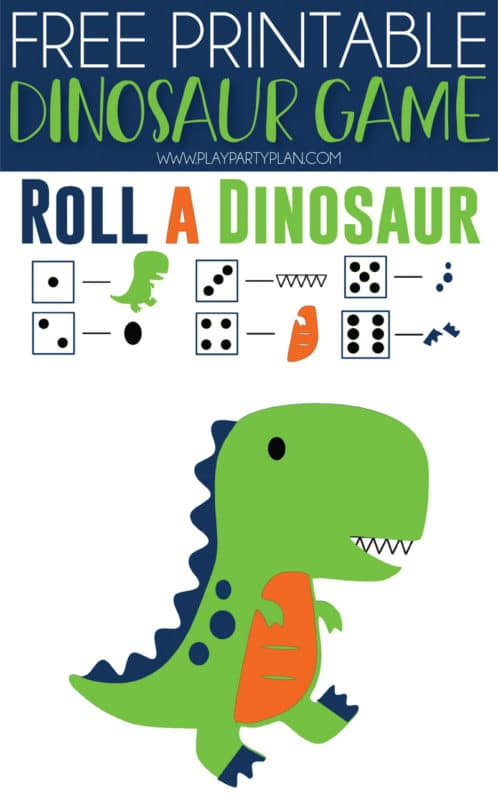This free printable roll the dinosaur game is one of the cutest ideas for a dinosaur birthday party! Simply print out the printables, hand out the games, and play! Kids will love trying to compete their dinosaur! It's one of the best activities for boys and girls!
