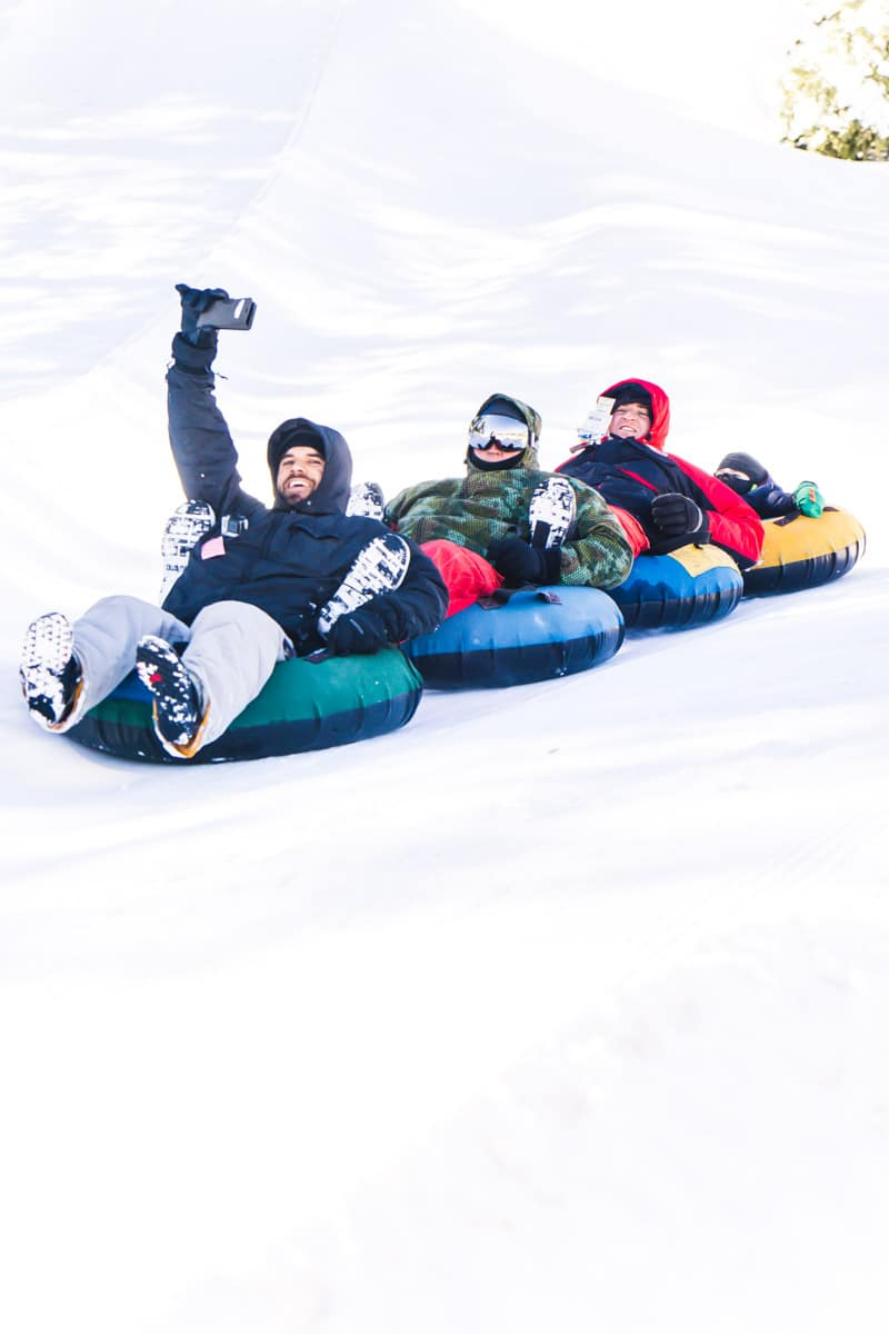 Ruidoso tubing in a train is better at Ruidoso Winter Park