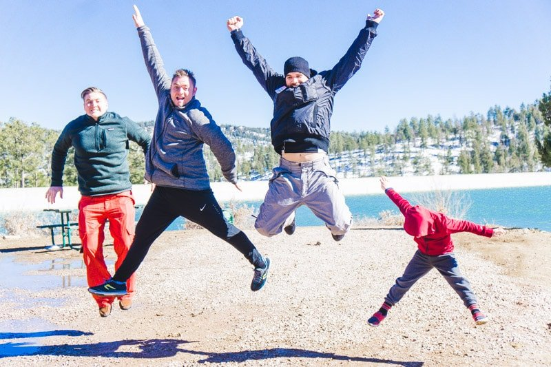 Jumping by Grindstone Lake in Ruidoso New Mexico