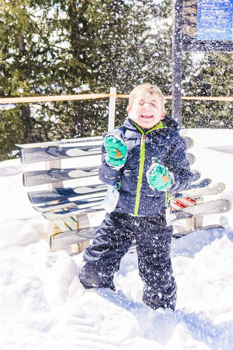 A kid playing in the snow at Ski Apache Ruidoso