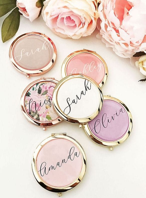 Compact mirrors make unique bridesmaid gifts