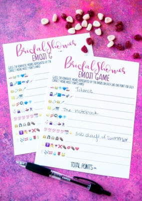 Printable bridal shower guess the emoji game