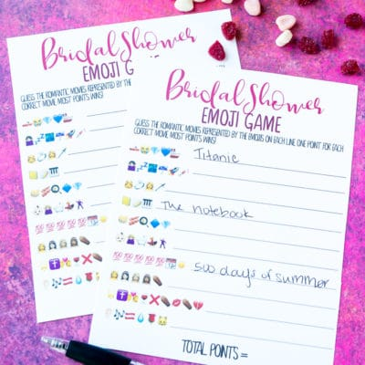 Free Printable Bridal Shower Emoji Game
