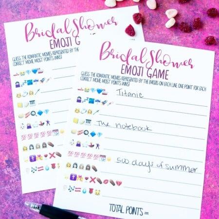 Printable bridal shower guess the emoji game