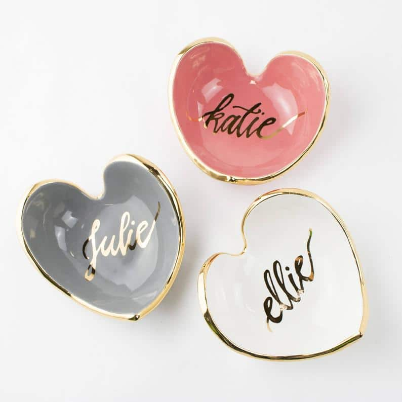 Heart shaped personalized bridesmaid gifts