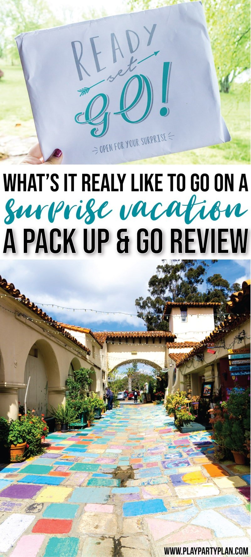 Looking for fun surprise vacation ideas for husband, boyfriend, or even a trip with your kids? Find out how the Pack Up and Go travel agency can plan an entire surprise vacation for you! They'll set you up with great destinations, ideas to do there, and book things for you! All you have to do is open the envelope to reveal where you're going! Check out these posts for an unbiased review of the experience! via @playpartyplan