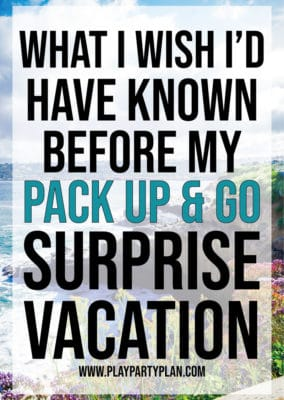 Looking for fun surprise vacation ideas for husband, boyfriend, or even a trip with your kids? Find out how the Pack Up and Go travel agency can plan an entire surprise vacation for you! They'll set you up with great destinations, ideas to do there, and book things for you! All you have to do is open the envelope to reveal where you're going! Check out these posts for an unbiased review of the experience!
