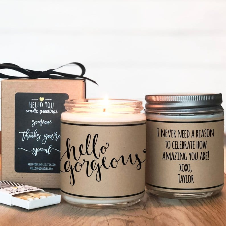 Personalized candles for bridesmaid gifts