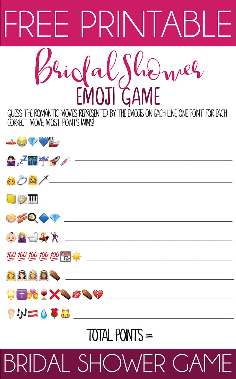 This printable bridal shower emoji game is one of the best and unique bridal shower games out of there! Perfect for couples or for large groups - simply print out the free printable and play! Finally funny bridal shower games that don't suck!