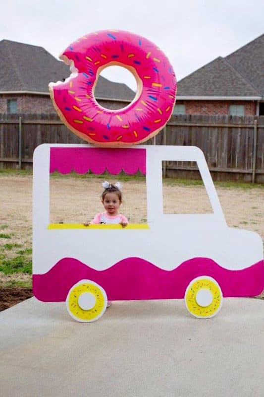 DIY donut party photo booth