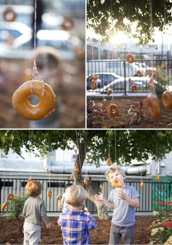 Donut party game and donut eating relay