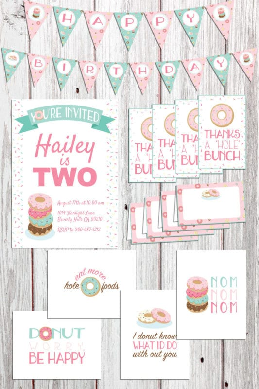 Donut party printable pack