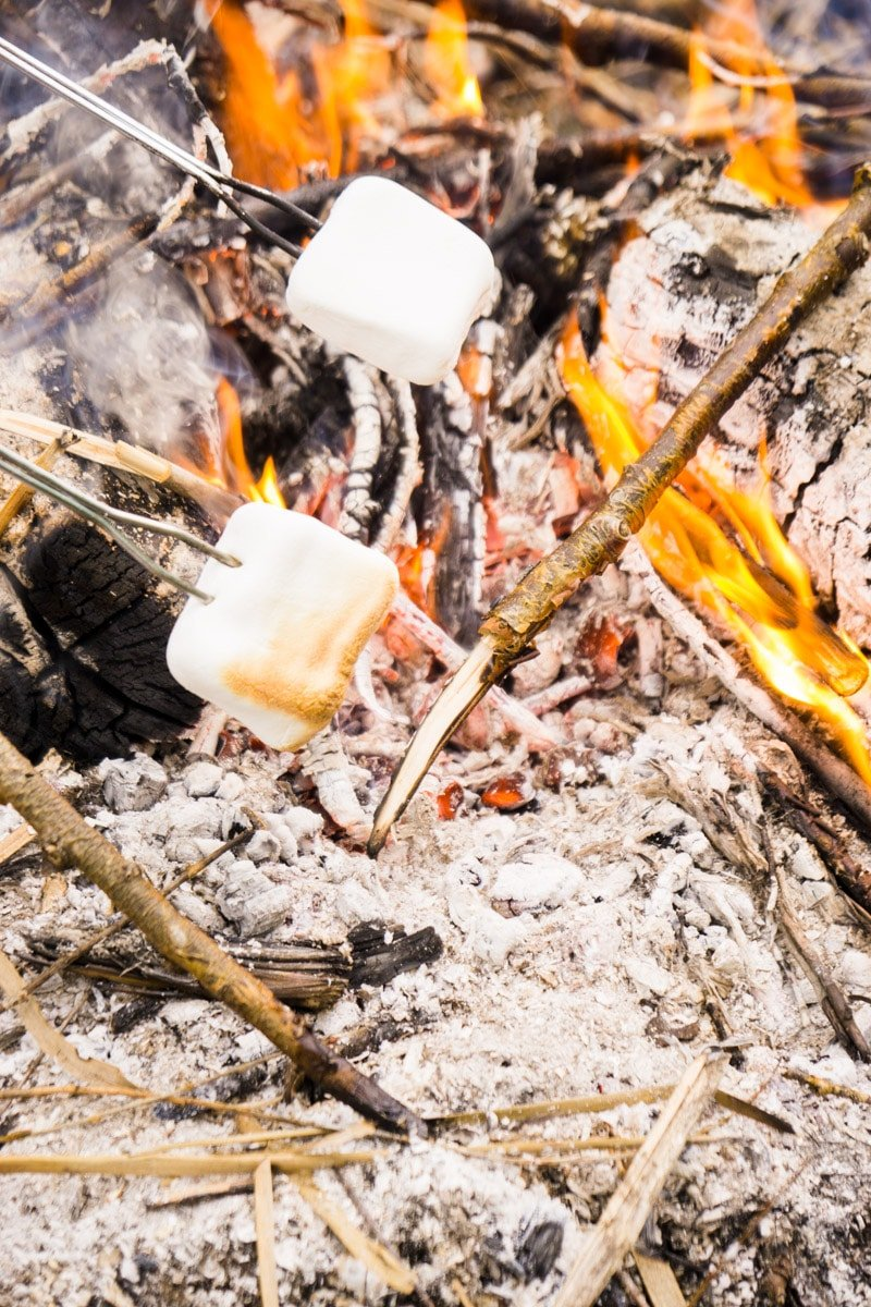 Roasting marshmallows from a s'mores bar