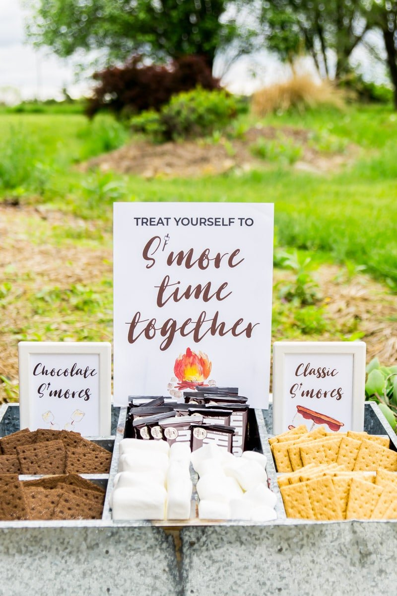 DIY s'mores bar with a s'mores bar sign